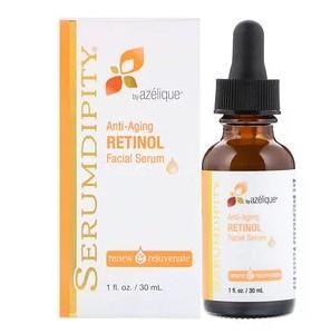 Azelique, Serumdipity, антивозрастная защитная сыворотка с витамином А для лица, 1 жидкая унция (30 мл)