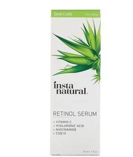 InstaNatural, Сыворотка ретинола, с витамином C + гиалуроновой кислотой, 30 мл