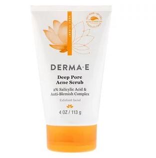 Derma E, Глубоко очищающий скраб для лечения акне, 2% салициловая кислота и комплекс от прыщиков, 4 унц. (113 г)