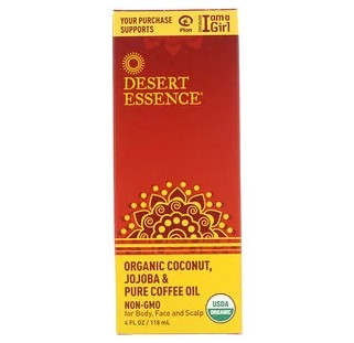 Desert Essence, Органическое масло кокоса, жожоба & кофе, 4 унции (118 мл)