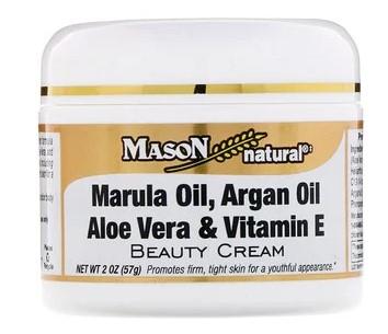 Mason Natural, Крем для лица и тела с маслом марулы, аргановым маслом, алоэ вера и витамином E, 2 унции (57 г)