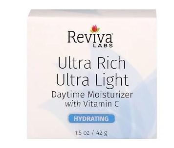 Reviva Labs, Ультра-насыщенный, ультра-легкий дневной увлажняющий крем с витамином C, 1,5 унц. (42 г)