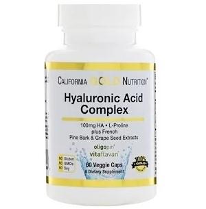 California Gold Nutrition, Комплекс с гиалуроновой кислотой, 60 растительных капсул