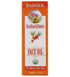 Badger Company, Organic, Face Oil, Seabuckthorn, For Normal/Dry Skin, 1 fl oz (29.5 ml)