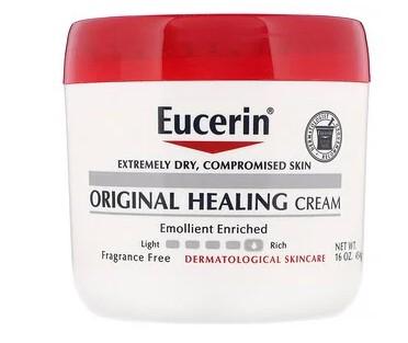 Eucerin, Оригинальный заживляющий крем для очень сухой и поврежденной кожи, без отдушек, 454 г (16 унций)
