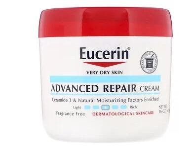 Eucerin, Усовершенствованный восстанавливающий крем для очень сухой кожи, без отдушек, 454 г (16 унций)